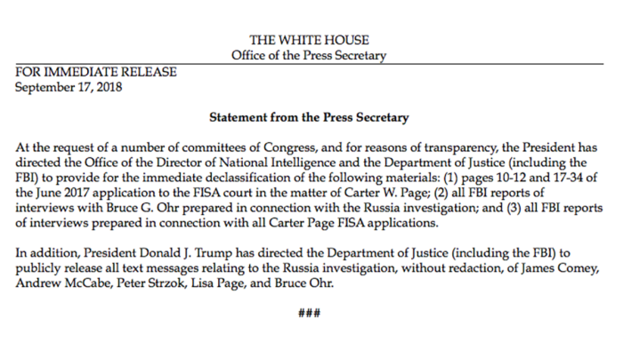 WhiteHousePressRelease-Declassification